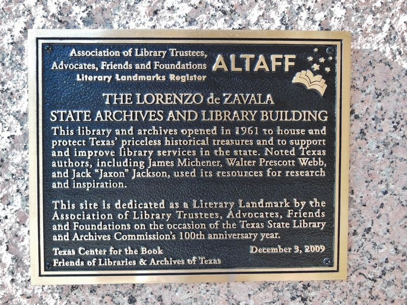 The Lorenzo de Zavala State Archives and Library Building Marker image. Click for full size.