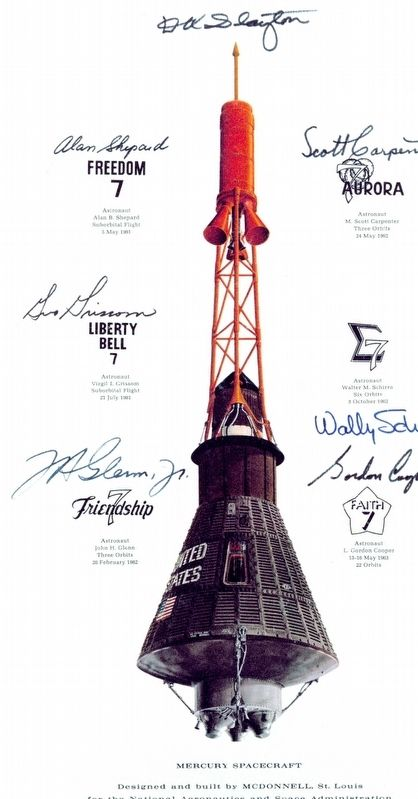 Mercury Capsule rendering signed by original astronauts image. Click for full size.