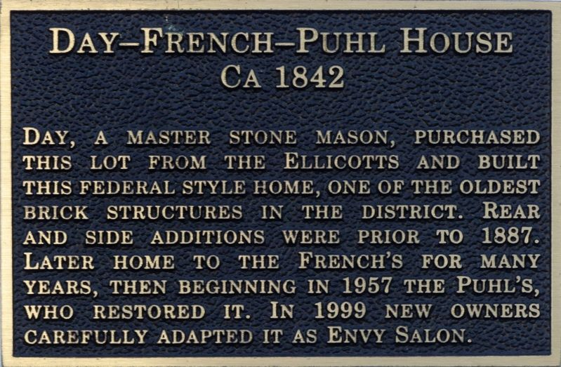Day-French-Puhl House Marker image. Click for full size.