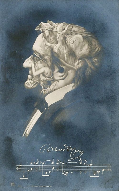 Richard Wagner postcard portrait image. Click for full size.