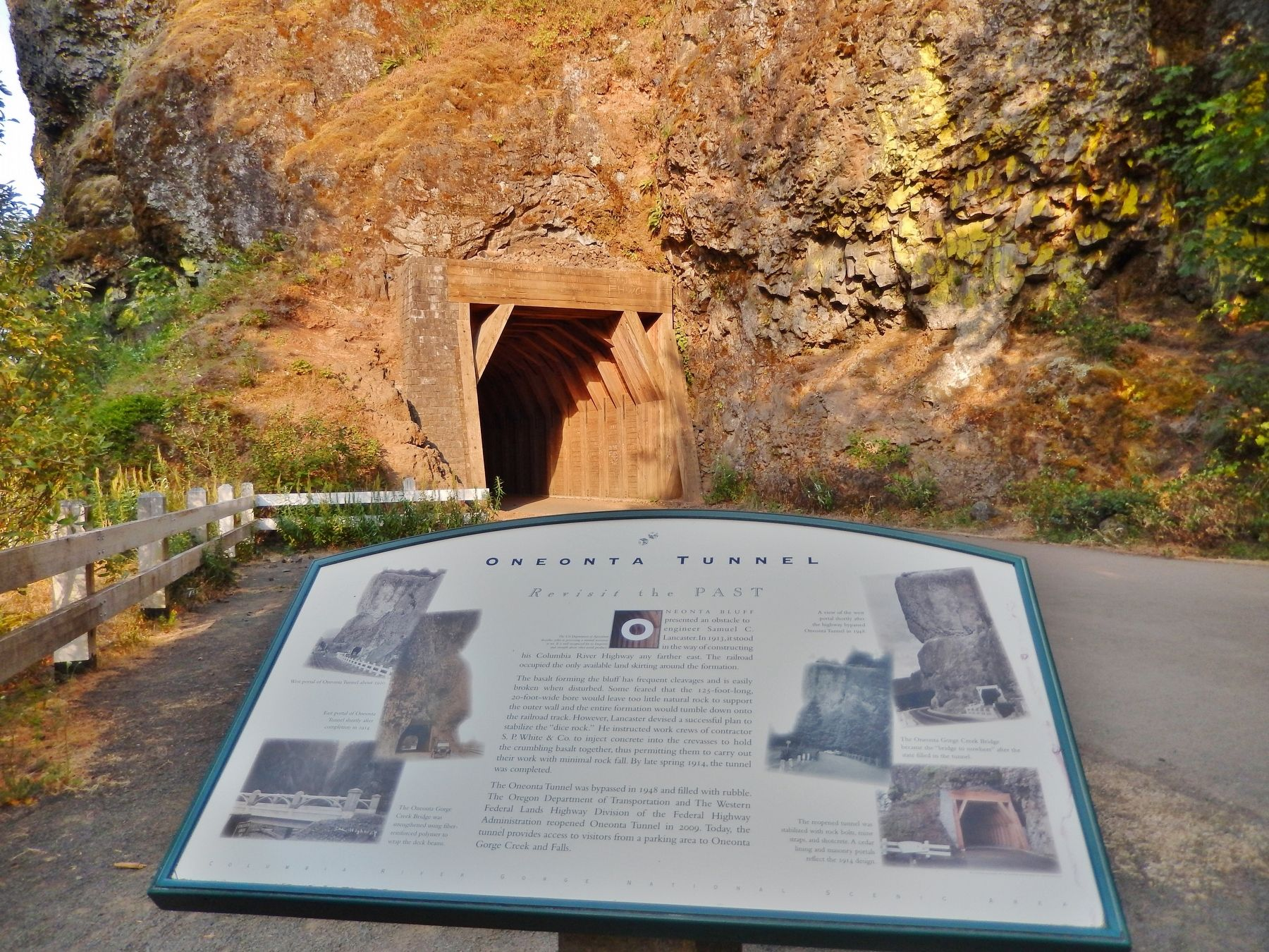 Oneonta Tunnel Marker (<i>wide view; west tunnel portal in background</i>) image. Click for full size.