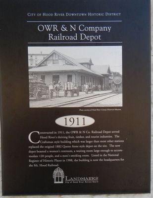 OWR & N Company Railroad Depot Marker image. Click for full size.