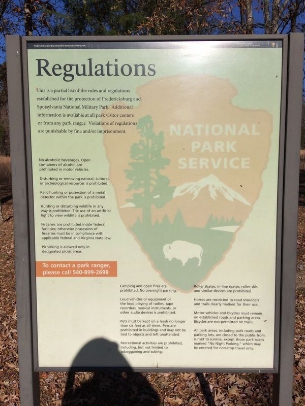 The Battle of the Wilderness - Park Regulations Marker image. Click for full size.