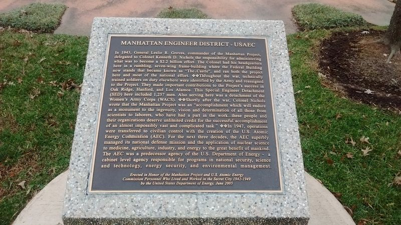 Manhattan Engineer District – USAEC Marker image. Click for full size.