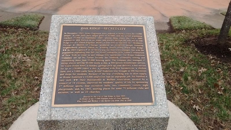 Oak Ridge – Secret City Marker image. Click for full size.
