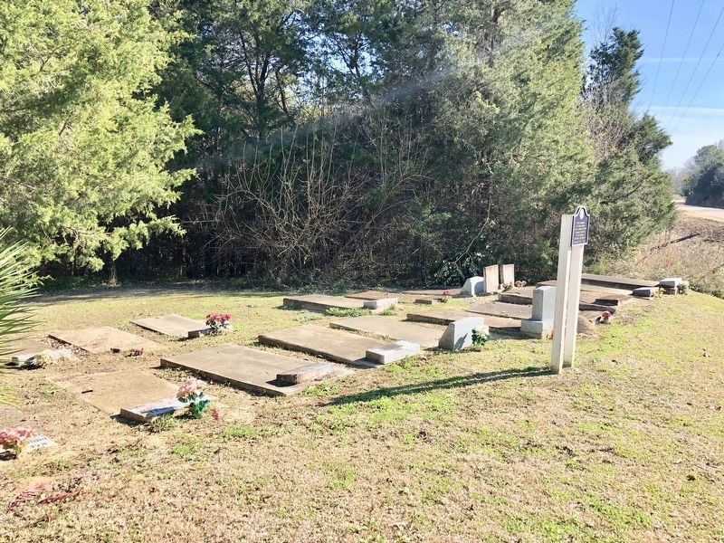 The small Whitt Cemetery and the marker. image. Click for full size.