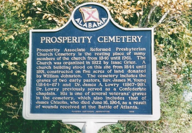 Prosperity Cemetery Marker (now missing). image. Click for full size.