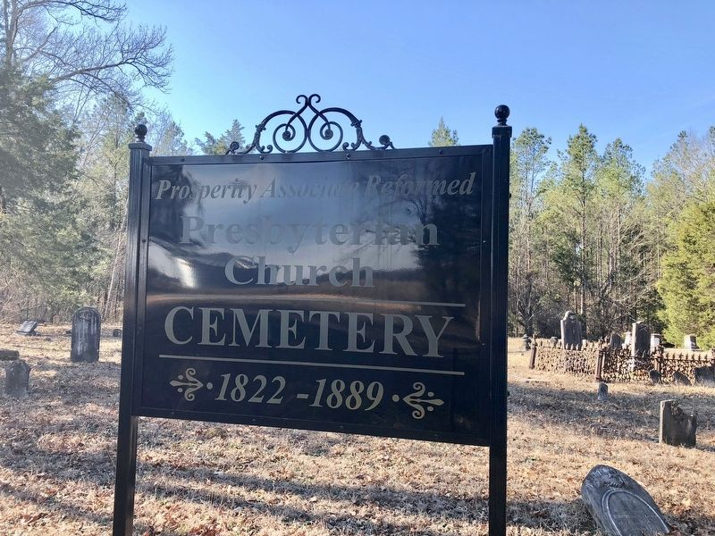 Prosperity Cemetery sign. image. Click for full size.