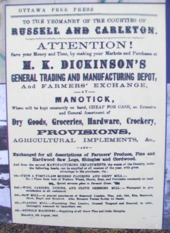 Advertisement on Dickinson Square and Manotick Marker image. Click for full size.