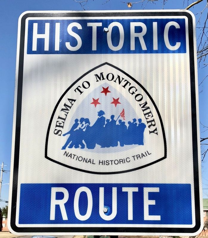 One of many trail signs marking the route of the march. image. Click for full size.