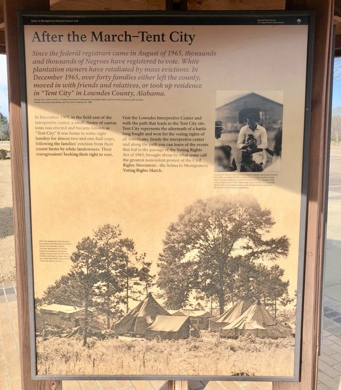 After the March—Tent City Marker image. Click for full size.