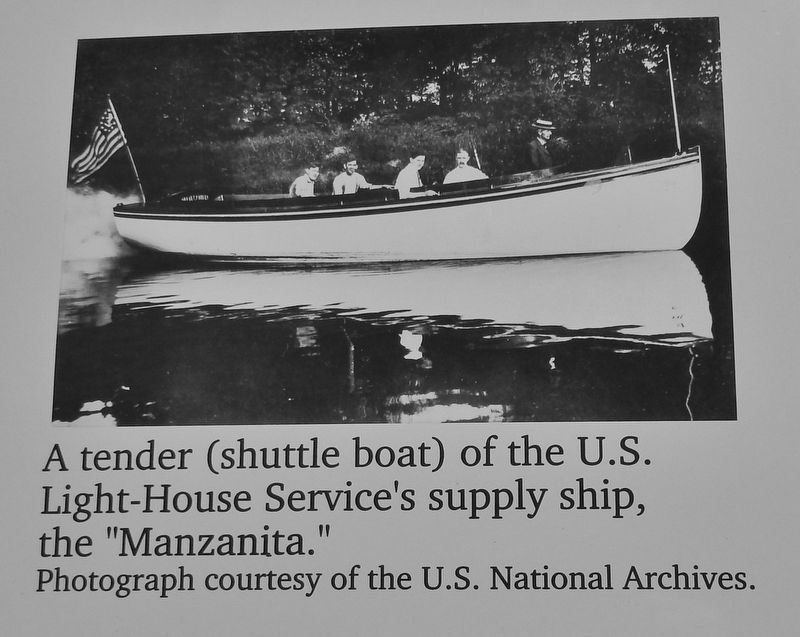 "Marker detail: A tender of the U.S. Light-House Service's supply ship, the ""Manzanita."" image. Click for full size."