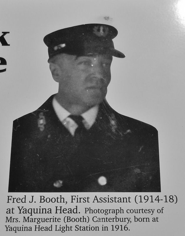 Marker detail: Fred J. Booth, First Assistant (1914-18) at Yaquina Head image. Click for full size.