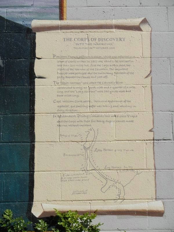 "The Corps of Discovery ""Into the Narrows"" Marker image. Click for full size."