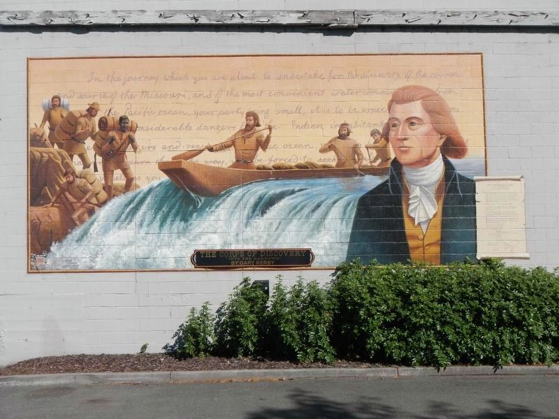 "The Corps of Discovery ""Into the Narrows"" Mural image. Click for full size."