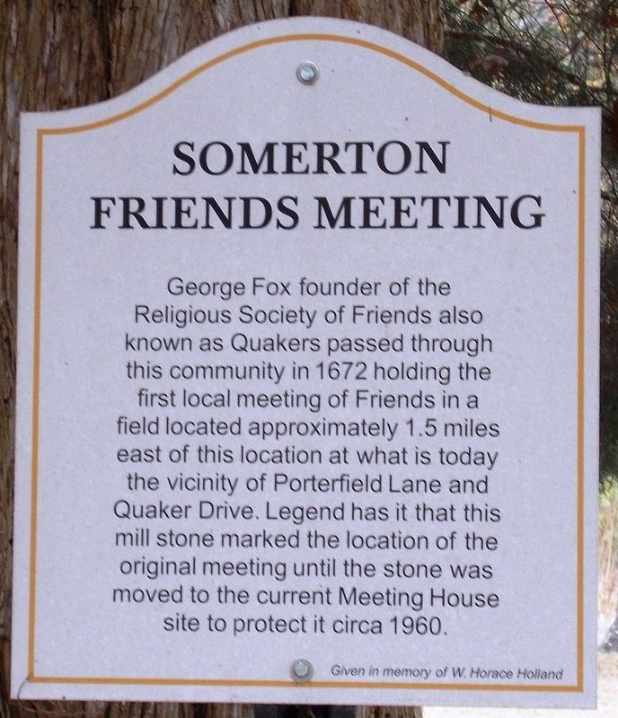 Somerton Friends Meeting – Mill Stone Marker image. Click for full size.
