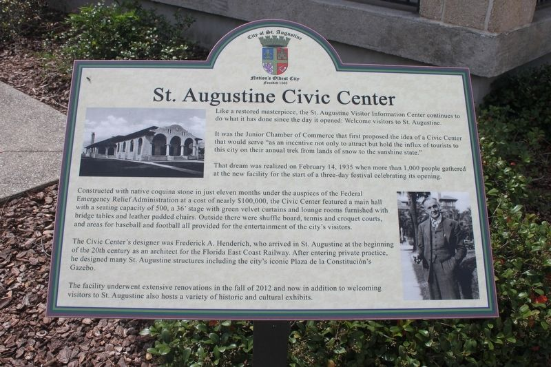 St. Augustine Civic Center Marker image. Click for full size.