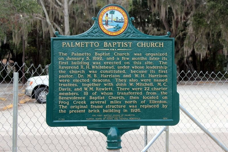 Palmetto Baptist Church side of marker image. Click for full size.