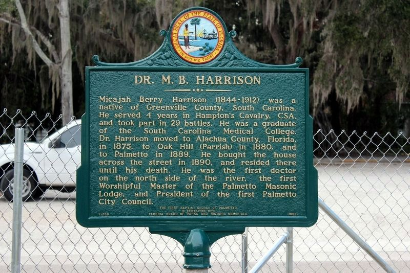 Dr. M.B. Harrison side of the marker image. Click for full size.
