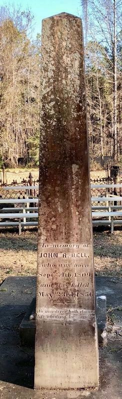 John R. Bell (father) grave marker in New Cemetery at Cahaba. image. Click for full size.