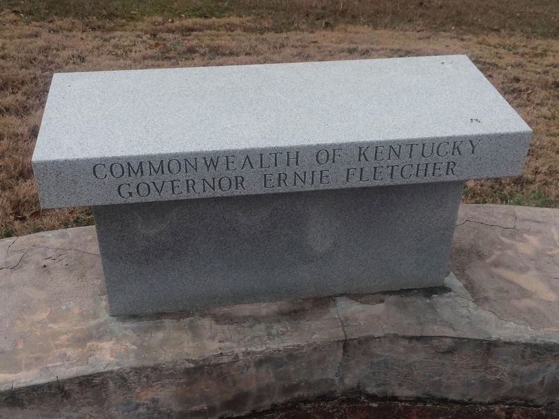 """The Buffaloes"" dedicatory bench for Kentucky Governor Ernie Fletcher image. Click for full size."