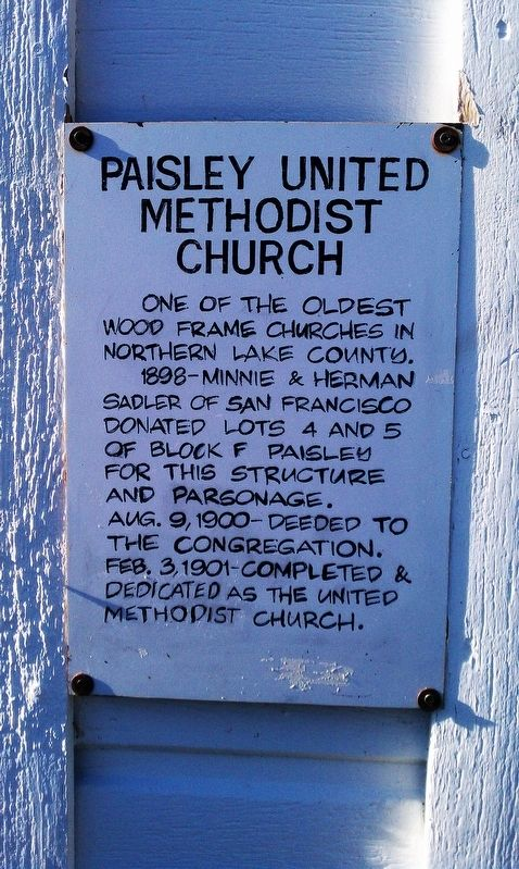 Paisley United Methodist Church Marker image. Click for full size.