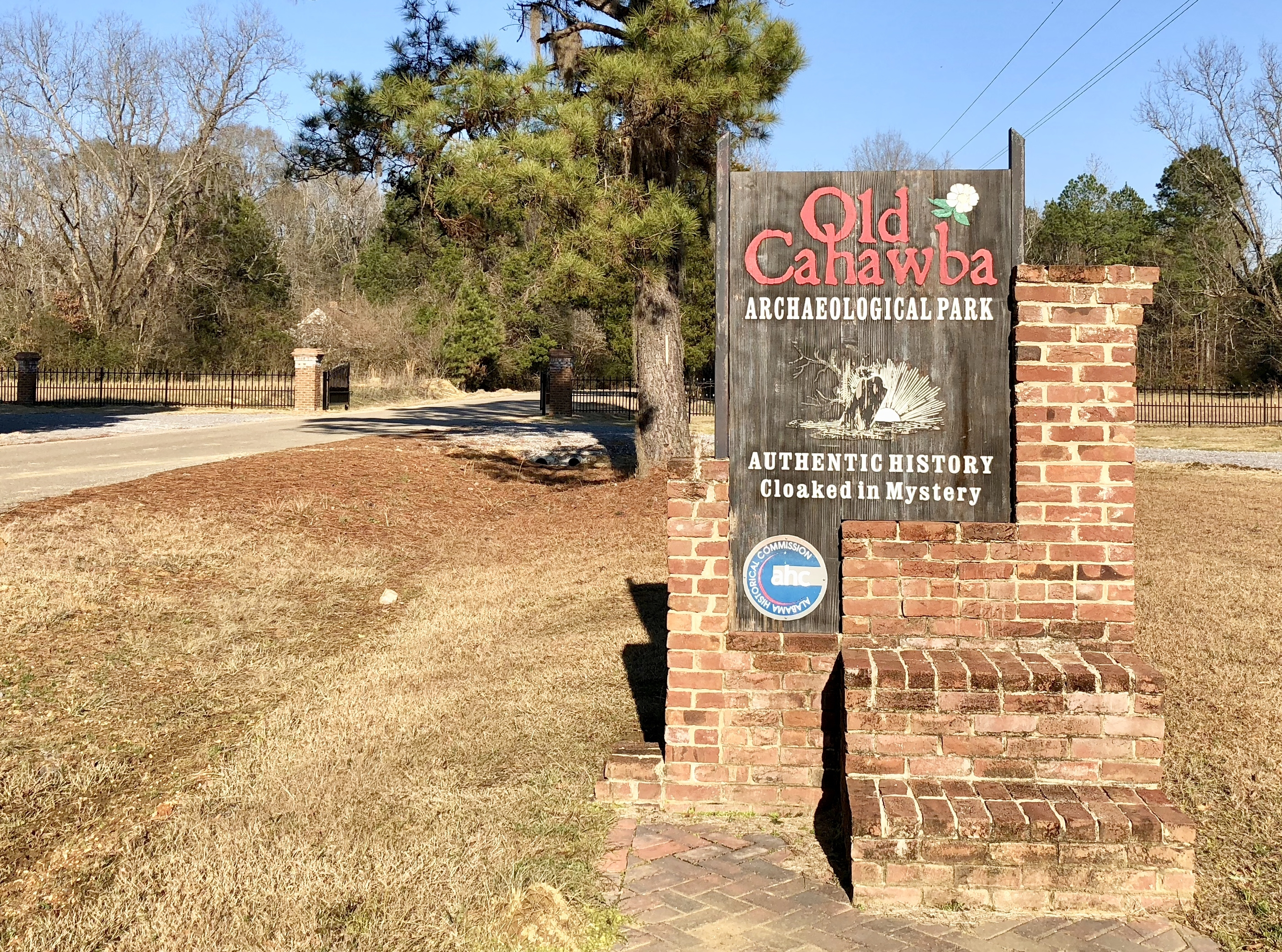 Entrance sign to the Cahawba Archaeological Park.
