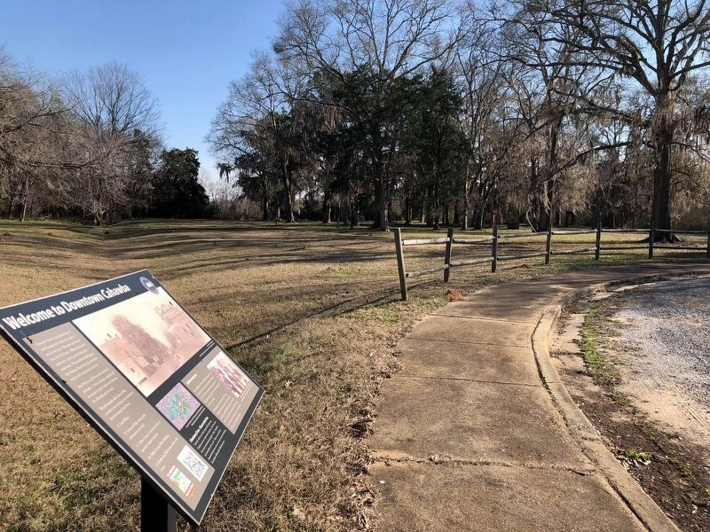 View from marker of the Capitol Reserve towards the Alabama River. image. Click for full size.