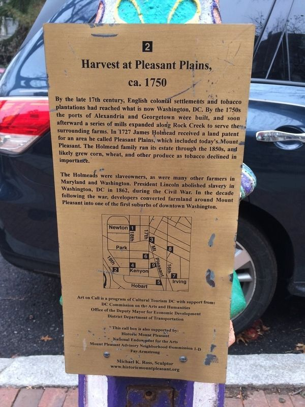 Harvest at Pleasant Plains, ca. 1750 Marker image. Click for full size.