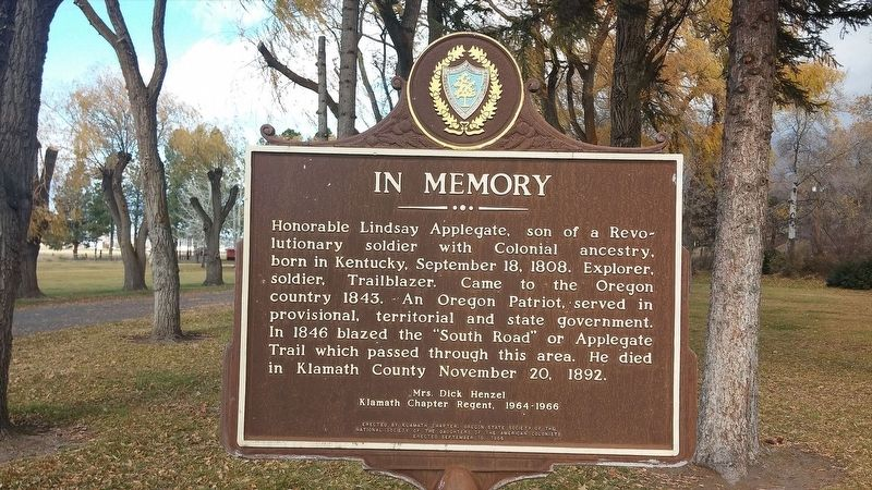 Lindsey Applegate Marker image. Click for full size.