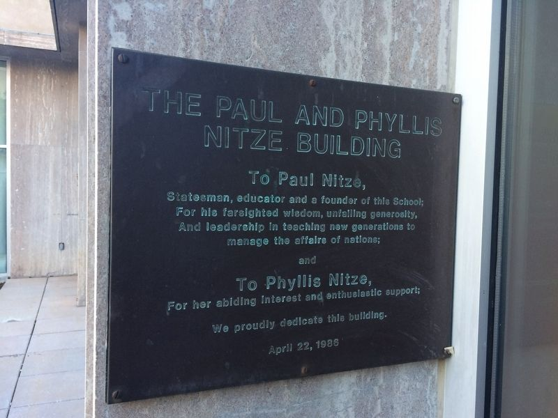 The Paul and Phyllis Nitze Building Marker image. Click for full size.
