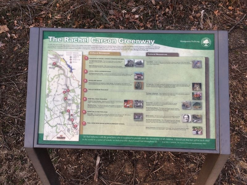 The Rachel Carson Greenway Marker image. Click for full size.