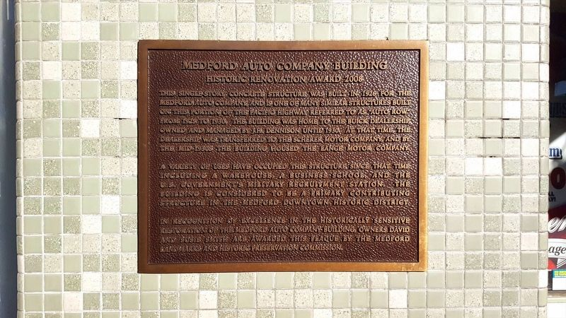Medford Auto Company Building Marker image. Click for full size.