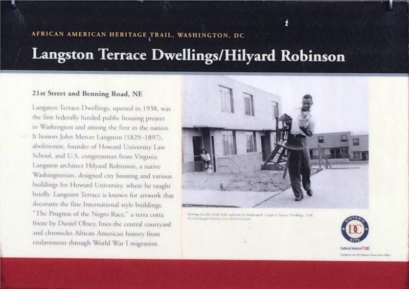 Langston Terrace Dwellings/Hilyard Robinson Marker image. Click for full size.