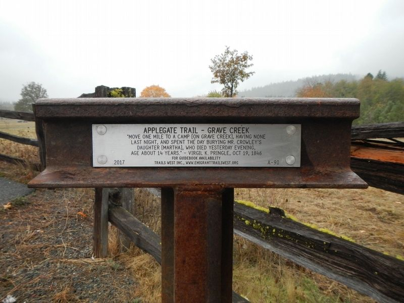 Applegate Trail - Grave Creek Marker image. Click for full size.