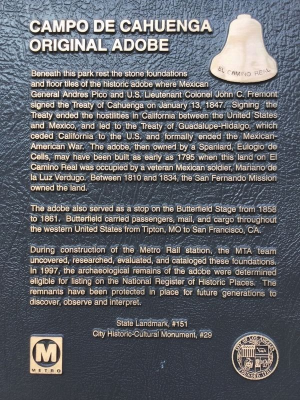 Campo de Cahuenga Marker image. Click for full size.
