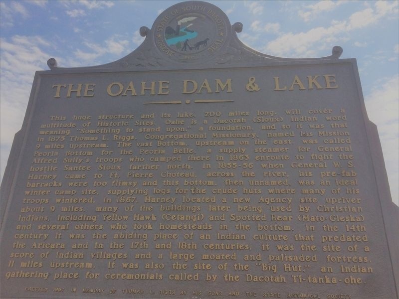 The Oahe Dam & Lake Marker image. Click for full size.