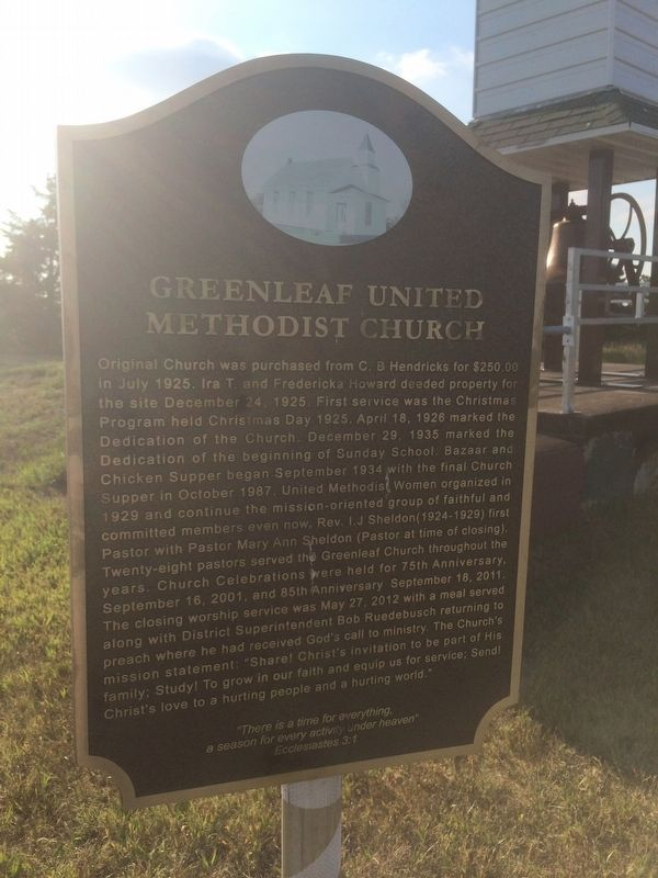 Greenleaf United Methodist Church Marker image. Click for full size.