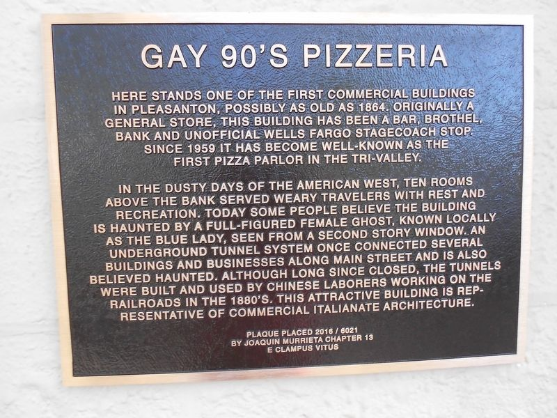 Gay 90's Pizzeria Marker image. Click for full size.