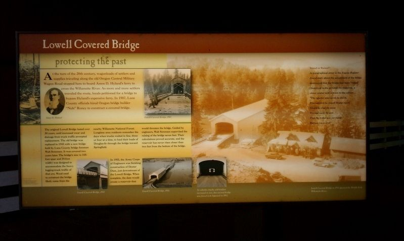 Lowell Covered Bridge Marker image. Click for full size.