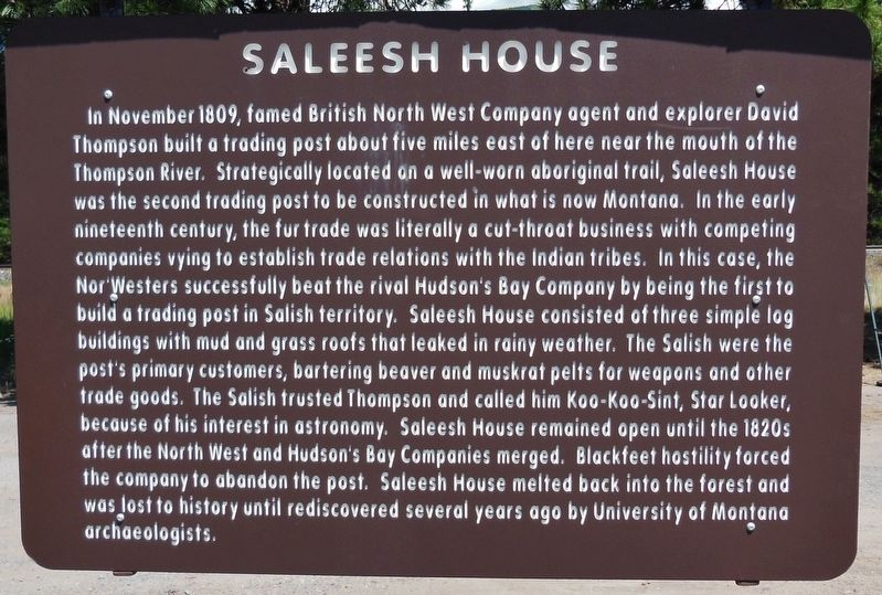 Saleesh House Marker image. Click for full size.