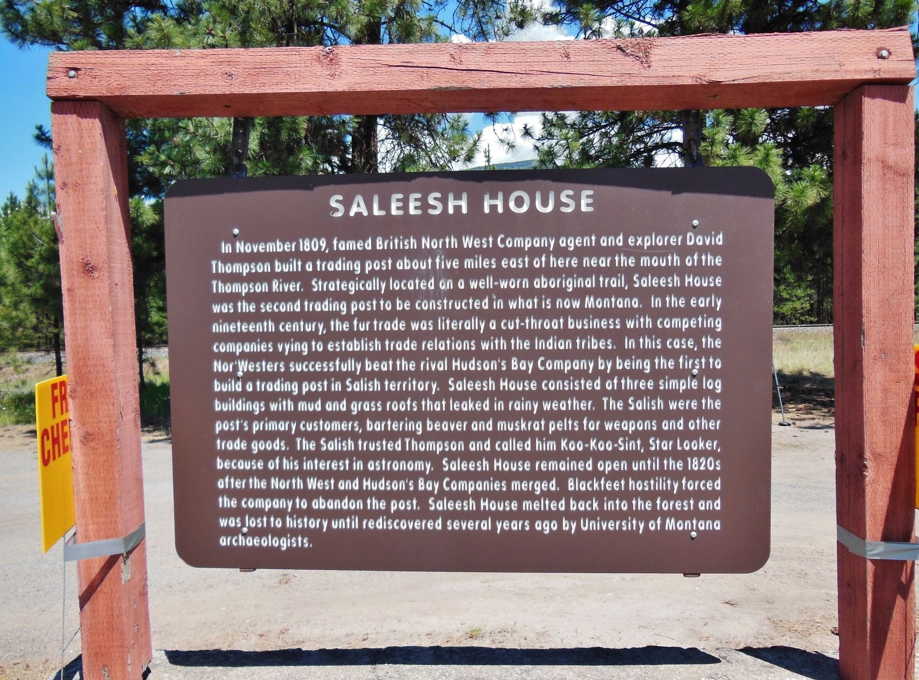 Saleesh House Marker (<i>wide view</i>) image. Click for full size.