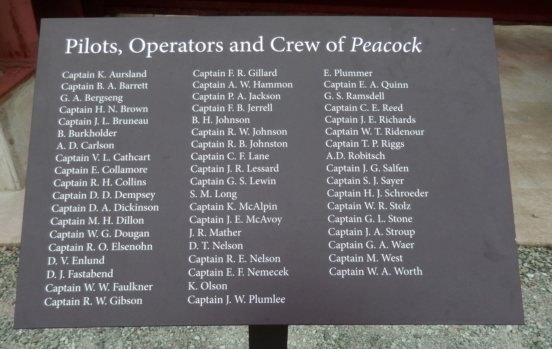 Pilots, Operators and Crew of <i>Peacock</i> image. Click for full size.