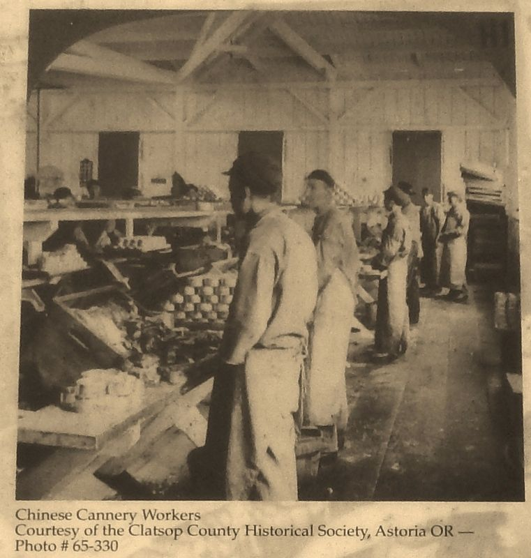 Marker detail: Chinese Cannery Workers image. Click for full size.