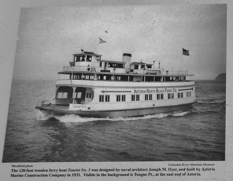 Marker detail: 120-foot Wooden Ferry Boat <i>Tourist No. 3</i> image. Click for full size.