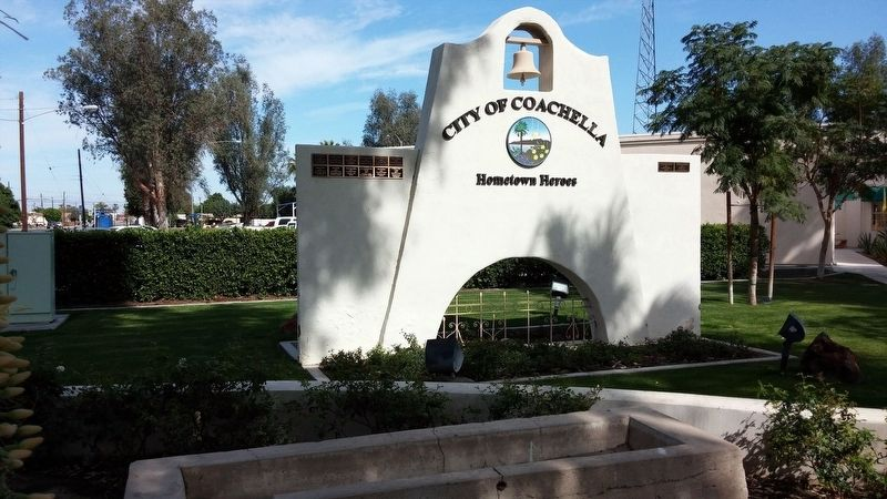 City of Coachella sign near water trough image. Click for full size.
