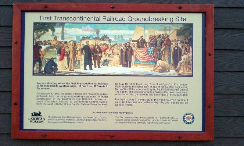 First Transcontinental Railroad Groundbreaking Site Marker image. Click for full size.