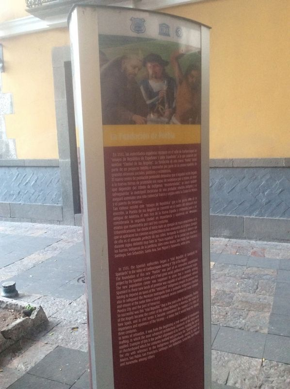 'The Foundation of the City of Puebla' side of the marker image. Click for full size.