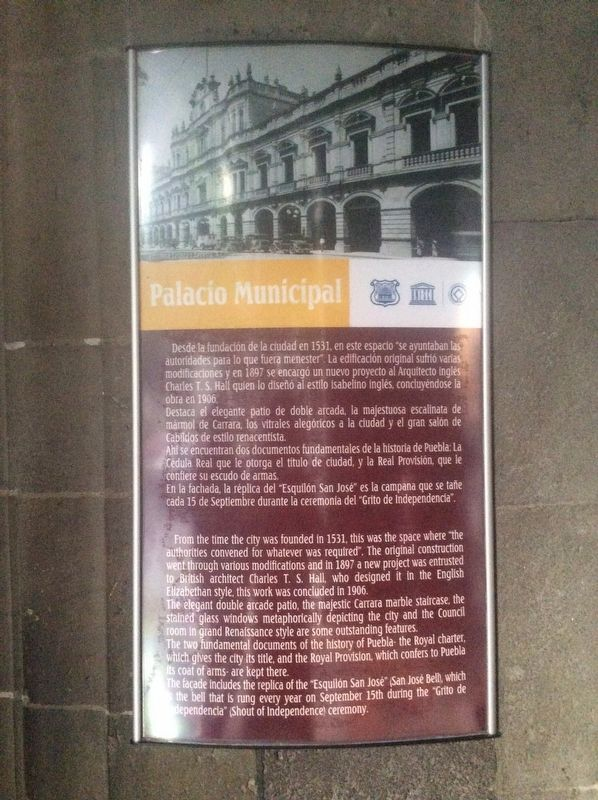 The Municipal Palace Marker image. Click for full size.
