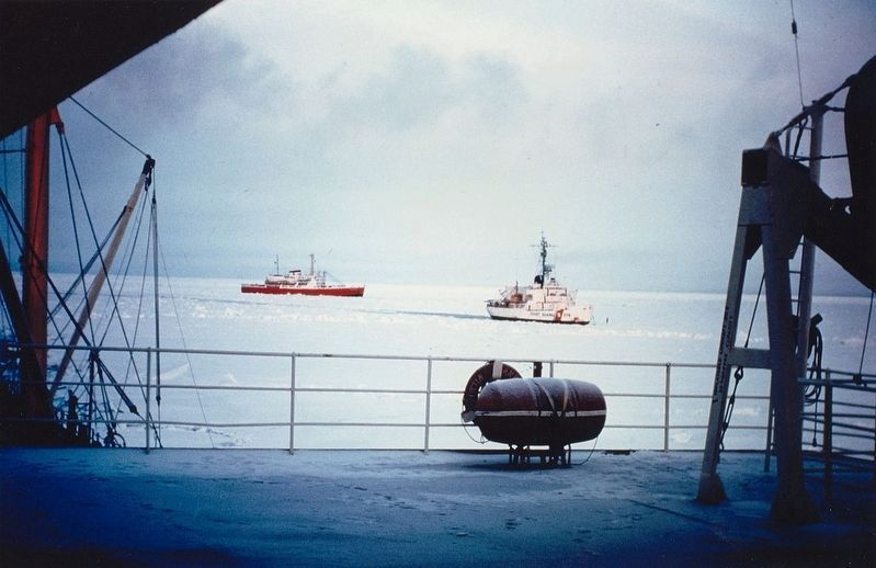 USCGC Staten Island (WAGB-278) and CCGS John A. MacDonald escort the tanker SS Manhattan image. Click for full size.